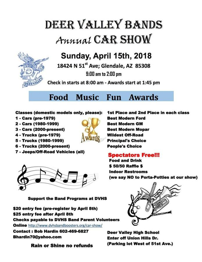 Deer Valley HS Bands Annual Car Show Glendale AZ Apr - Car show glendale az